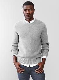 Lambswool textured crew sweater