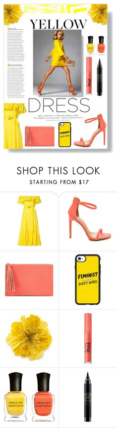 """""""Yellows Dress"""" by deonethiart ❤ liked on Polyvore featuring Lisa Marie Fernandez, H&M, Jessica McClintock, Casetify, Gucci, Too Faced Cosmetics, Deborah Lippmann and MAC Cosmetics"""