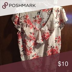 Sheer blouse with attached tank top Silky cream flowery top Maurices Tops Blouses