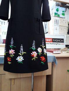 Váy thêu hoa ruy băng dáng váy suông V369 ở Hải Phòng