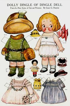 Dolly Dingle paper dolls.........first published in 1913 Pictorial Review magazine, illustrated by Grace Drayton - the same illustrator for Campbell Kids