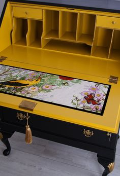 Hand Painted Antique Vintage Writing Desk Bureau In Black Golden Yellow With Timorous Beasties Linen Fabric Gold Silk Key Tassel - Modern Furniture: Affordable, Unique, Edgy Upcycled Furniture, Antique Furniture, Painted Furniture, Diy Furniture, Outdoor Furniture, Furniture Online, Handmade Furniture, Discount Furniture, Rustic Furniture