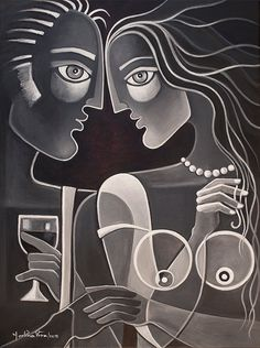 Cubist painting Abstract Figurative artwork Marlina Vera Modern black and white Art Picasso style Modernist Figurative Lovers Couple in Love Cubist Paintings, Cubist Art, Paintings Famous, Original Paintings, Abstract Art, Art Environnemental, Images D'art, Art Texture, Art Visage