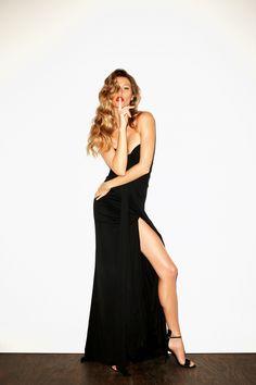 Brazilian model Gisele Bundchen in old hollywood glamour