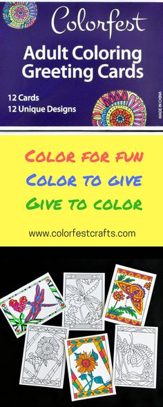 Colorfest Adult Coloring Greeting Cards. 12 exclusive hand-drawn artist designs with envelopes.