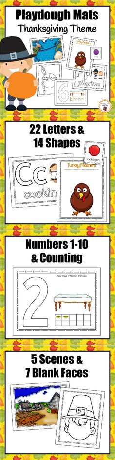Your students will love working with these Thanksgiving playdough mats!