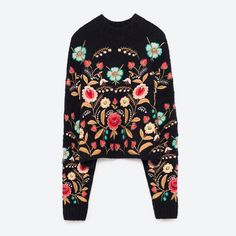 Floral embroidered sweater   zara