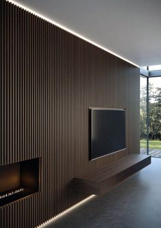 New wall paneling from Moderne Living reinvents the very concept of wall cladding, in a more amplified and contemporary way. 1 Bedroom Apartment, Apartment Interior, Living Room Interior, Home Living Room, Living Area, Wood Slat Wall, Living Room Tv Unit Designs, Tv Wall Decor, Tv Wall Design