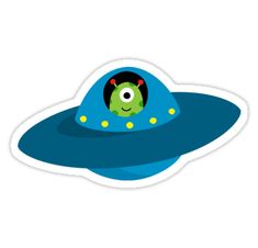 Sticker featuring a cartoon illustration of a cute alien in a flying saucer type spaceship.