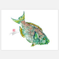 Parrot Fish 18x12, $39, now featured on Fab.
