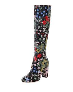 X2R9C Valentino Garden-Print Leather Knee Boot, Nero
