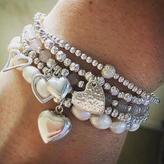 Bracelet stack, Stacking stretch bracelets, Sterling silver bracelets, freshwater pearl and rose quartz.