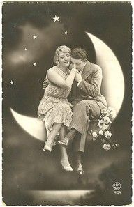 Lovers sitting on the crescent moon,