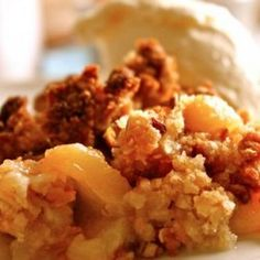 Peach Crumble ½ cup plain flour ½ cup rolled oats ¼ cup firmly packed brown sugar ⅓ cup desiccated coconut ½ teaspoon cinnamon 90 g butter, chopped Method Mix to combine flour, oats, sugar, coconut and cinnamon. Rub in butter with fingertips until mix resembles coarse breadcrumbs. Sprinkle topping over stewed fruit. Bake at 180°C for 25-30 minutes.