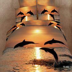 dolphins oil painting bedding set Luxury Duvet /quilt/comforter covers bed linen bedsheet bedcover sets King queen size-in Bedding Se.