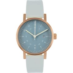 V03D Watch - Navy Dial/Copper Case/Grey Leather Strap