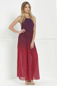 Halter Ombre Color High Slit Maxi Dress.