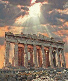 Parthenon illuminated by the sun of Greece