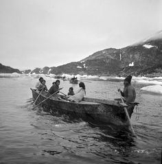 The Inuit use these traditional boats, known as umiak, for hunting and transportation.
