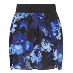 Gestuz Women's Skylar Skirt ($52) ❤ liked on Polyvore featuring skirts, mini skirts, blue, flared skirt, flared skater skirt, floral skater skirt, mini skater skirt and blue skater skirt