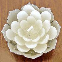 White Lotus Candles, set of 4