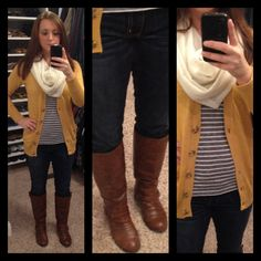 Mustard cardigan, gray striped tee, skinny jeans , brown boots and cream scarf