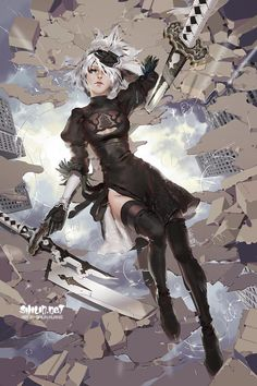 every victory, so much lossI haven't finished playing the game due to lack of time so I'm not deep in the story, this is inspired by the first ending/2B pov where 2B was ;_; 11x17&#8243...