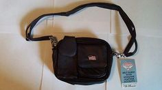 New*  Diamond Plate Hip Bag-Black Leather/Flag Emblem-w/ Detachable Leather Stap