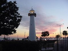 Biloxi Lighthouse, Mississippi at Lighthousefriends.com - passed this light on the way to and from New Orleans in the 90s. I have a good friend at Keesler AFB who tends to the lens and decorates the top of the tower at Christmas. He and his wife were married at the top.