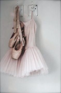 ballet leotard, tutu, and pointe shoes