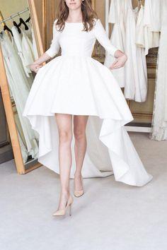 White A Line Asymmetrical 3/4 Sleeve Satin Wedding Dress,Beach Wedding Dress W227