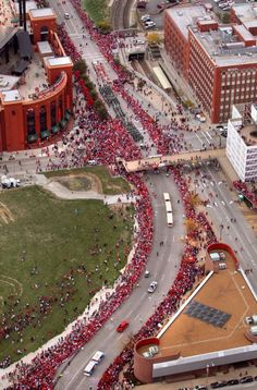The St. Louis Cardinals' victory parade in downtown St. Louis Sunday Oct. 30, 2011 after winning the 2011 World Series against the Texas Rangers. The view is 7th street looking south from Walnut Street.