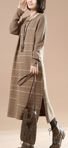 Original Khaki long knit dresses winter sweaters people coming and going