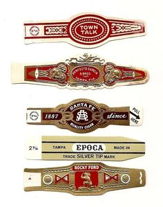 210 CIGAR BAND Labels -new old stock cigar bands. $4.00, via Etsy.