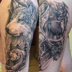 black and grey animal scene tattoo by Loretta Thomason at Winlaw BC