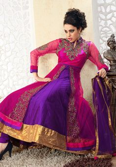 Dark Pink and Purple Net Anarkali Churidar Kameez