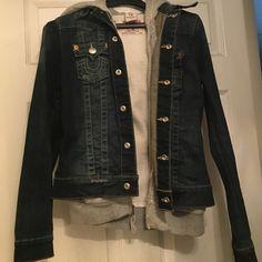 True religion jean jacket True religion Jean jacket with a non detachable grey hoody inside. 100% authentic guaranteed. Unisex True Religion Jackets & Coats Jean Jackets