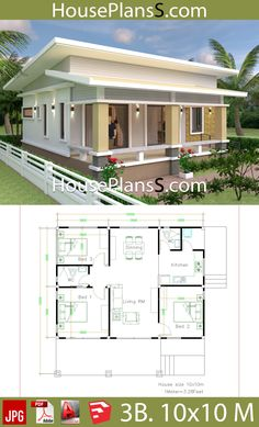 House Design Plans with 3 Bedrooms full interior - House Plans Sam Simple House Plans, Beach House Plans, My House Plans, Simple House Design, Modern House Plans, Modern House Design, House Floor Plans, Three Bedroom House Plan, House Design Pictures