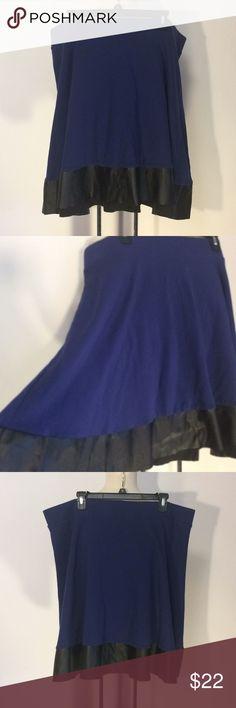 """Torrid Blue Skater Skirt Sz 3X Torrid purplish-blue wide elastic waist skater skirt Sz 3X. Has Faux leather trim. In excellent condition. Length 23"""". torrid Skirts Mini"""