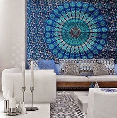 PRODUCT DESCRIPTION  This listing is for Gorgeous Indian Mandala Tapestry Sheet Peacock Feather Floral design Bedsheet/Tapestry which brings a