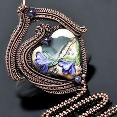 wire wrap pendant,wire wrap necklace,copper jewelry,lampwork,heart bead,heart lampwork,purple flowers,amethyst jewelry,one of a kind jewelry,artisan jewelry,handcrafted,nicole hanna jewelry