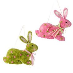 """RAZ Hanging Flat Back Easter Bunny   Assorted color Easter Bunny wall hanging, ribbon hanger Priced individually - choose color Pink, Green Made of Paper and Polyfoam Measures 14.5"""""""