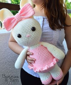 CROCHET PATTERN - 16 in. tall Laurie the Friendly Ballerina Bunny - Amigurumi Rabbit Crochet Toy - Nursery Kids Gift - Instant PDF Download by BunniesandYarn on Etsy https://www.etsy.com/listing/450094736/crochet-pattern-16-in-tall-laurie-the