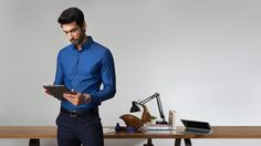 The Navy Herringbone Premium Brands, Branded Shirts, Shirts Online, Formal Shirts, Best Investments, Men Online, Herringbone, Portal, Gentleman