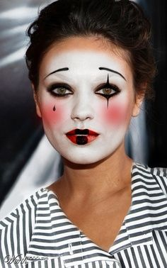 mime costume for women | Mime Makeup and Costume Ideas @nikki striefler striefler striefler Dilley I like the eyes and the eye brow...but dif colors