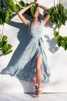 Symphony Breezy Blue Maxi Wrap Dress Ootd Fashion, New Fashion, Vintage Fashion, Fashion Outfits, Australian Boutique, Mombasa, Rose Boutique, Blue Maxi, Maxi Wrap Dress
