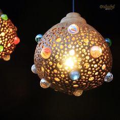 Coconut shell lamp pendant.