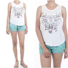ebclo - Soft White Rayon Knit Aniaml Skull Graphic Sleeveless Tank Tee NEW #ebclo #GraphicTee $12.00 Free Domestic Shipping