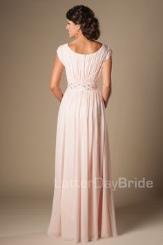 Blushing Pink Long Formal Full Length Modest Chiffon Beach Evening Bridesmaid Dresses With Cap Sleeves Beaded Ruched Temple Bridesmaids Dres Inexpensive Bridesmaid Dresses, Winter Bridesmaid Dresses, Bridesmaid Dresses With Sleeves, Modest Wedding Gowns, Elegant Wedding Dress, Bridal Gowns, Bridesmaids, Prom Dresses, Formal Dresses