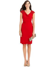 $149 Alex Evenings Dress, Cap Sleeve Embellished Shoulder Draped - Womens Dresses - Macy's